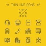 Technology thin line icon set Stock Photos