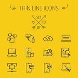 Technology thin line icon set Stock Photos