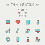 Technology thin line icon set. For web and mobile. Set includes - laptop, tablet, computer, globe, man, woman, heart, statistics icons. Modern minimalistic flat Royalty Free Stock Image