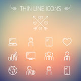 Technology thin line icon set. For web and mobile. Set includes - laptop, tablet, computer, globe, man, woman, heart, statistics icons. Modern minimalistic flat Royalty Free Stock Images