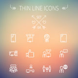 Technology thin line icon set Stock Image