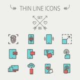 Technology thin line icon set vector illustration