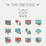 Technology thin line icon set Stock Image