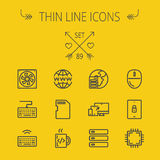 Technology thin line icon set Royalty Free Stock Photos