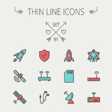 Technology thin line icon set Royalty Free Stock Image