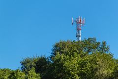 Technology on the top of the telecommunication GSM. Masts for mobile phone signal. Tower with antennas of cellular communication o Stock Photo