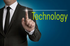 Technology touchscreen is operated by businessman Royalty Free Stock Image