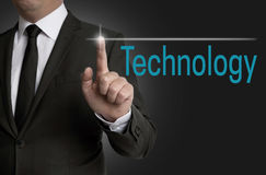 Technology touchscreen is operated by businessman Royalty Free Stock Images