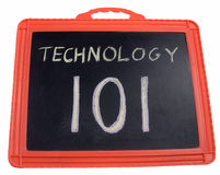 Technology training. A chalk board with the words Technology 101 Stock Image