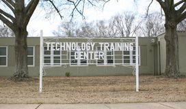 Technology Training Center Sign. A training center that teaches students advances in technology, such as computers, computer electronic, electronics and other royalty free stock photo