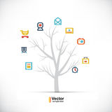 Technology tree, business and branching paths. And vector illustration Royalty Free Stock Photography