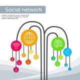Technology Tree Social Media Icons Thin Line Logo Stock Photos