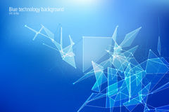 Technology triangle, line and dot vector concept. Abstract futuristic triangular background Royalty Free Stock Photography