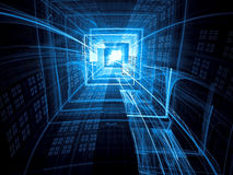 Technology tunnel - abstract digitally generated image Stock Photo