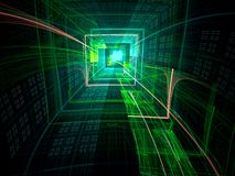 Technology tunnel - abstract digitally generated image. Technology tunnel - green fractal background. Fractal art: bizzard well, portal or hole. Abstract Stock Photography