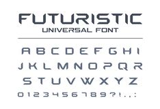 Technology universal vector font. Geometric, sport, futuristic, future techno alphabet. Stock Photography