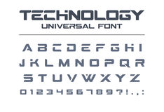 Technology universal vector font. Geometric, sport, futuristic, future techno alphabet. Stock Photos