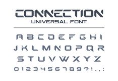 Technology universal vector font. Geometric, sport, futuristic, future techno alphabet. Technology connect universal font. Geometric, aggressive sport royalty free illustration