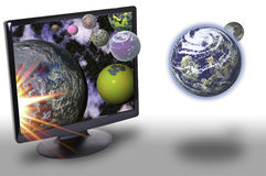 Technology and the universe. This image shows a computer screen, with planets that are out of the screen. Earth and Moon are out Royalty Free Stock Photo