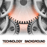 Technology vector background, burning hot gearwheel Royalty Free Stock Images
