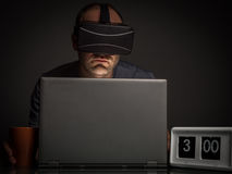 Technology and virtual reality addiction at home Royalty Free Stock Images