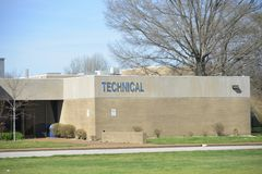 Technology and Vocational Center. A technology and vocational center at a college teaches students the latest robotics, automation, computers, telecommunications stock images