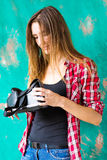 Technology, VR, entertainment and people concept - happy young woman with virtual reality headset or 3d glasses Royalty Free Stock Photo