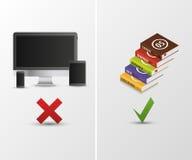 Technology vs books. Vector illustration Stock Images