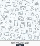 Technology wallpaper. Black and white digital seamless pattern. Stock Images