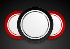 Technology web design with red black circle labels Stock Photography