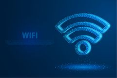 Technology wifi icon with blue background, A rotate icon composed of polygons, vector stock illustration