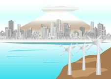 Technology of wind turbine on mountain in the sea and Cityscape of Buildings paper style Royalty Free Stock Images