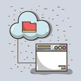 Technology window with file inside of cloud. Vector illustration stock illustration