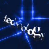 TECHNOLOGY word on blue reflecting metallic background. Royalty Free Stock Image