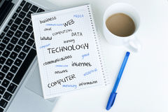 Technology Word Cloud. Tags on notebook near laptop pen and coffee cup in office interior Royalty Free Stock Photo