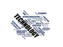 TECHNOLOGY - word cloud wordcloud - terms from the globalization, economy and policy environment Stock Images