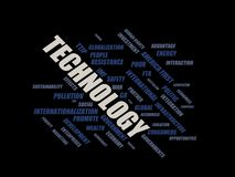 Technology - word cloud wordcloud - terms from the globalization, economy and policy environment Royalty Free Stock Images