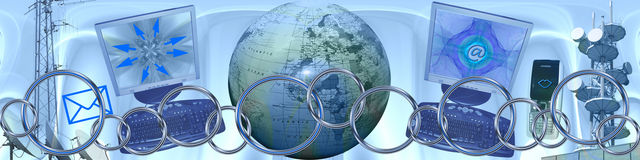 Technology and world wide connections. This banner / header is all about new technology, world wide communication and internet. The connecting rings are symbolic Stock Photography