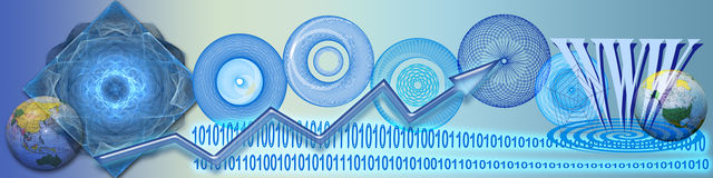 Technology, ww connections and success. This banner has a background in different blue tones. The connecting circles, WWW, binary codes and globes are metaphors Royalty Free Stock Image