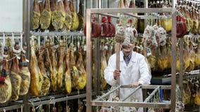 Technoloog met slager die het drogen controleren wurst stock footage