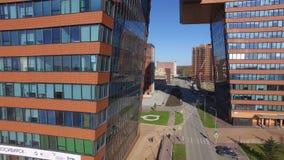 Technopark en la opinión aérea de Novosibirsk almacen de metraje de vídeo