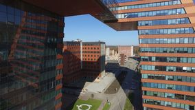 Technopark of the Novosibirsk Academgorodok aerial view from drone stock footage