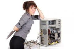 Technophobe woman Stock Image