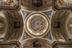 Techo adornado en la basílica de Santa Maria Maggiore en Bérgamo Imagen de archivo libre de regalías