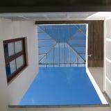 Techo de cristal del patio colonial español de la casa Fotografía de archivo