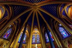 Techo de la capilla más baja en el Sainte-Chapelle en París, Francia fotos de archivo