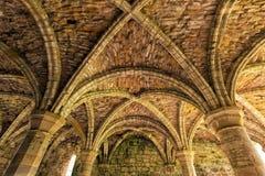 Techo de la casa del capítulo, abadía de Buildwas, Shropshire, Inglaterra Imágenes de archivo libres de regalías