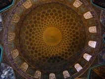 Techo de la mezquita de Loftollah, Irán Imágenes de archivo libres de regalías