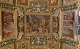 Techo en la galería de correspondencias. Museos de Vatican Foto de archivo