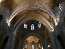 Techo gótico Figueres España de la iglesia Imagenes de archivo